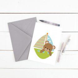 Plakat med bamse i båt - print ut selv