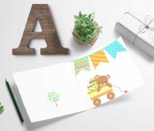 Barnekort - herlig bamsekort til barnebursdag og andre dager