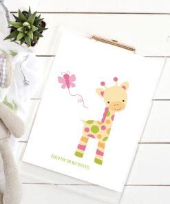 Reach for the butterflies - Nydelig barneplakat med giraff og sommerfugl