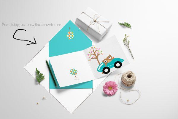 Barnekort - Ugle i bil med konvolutt - print ut selv