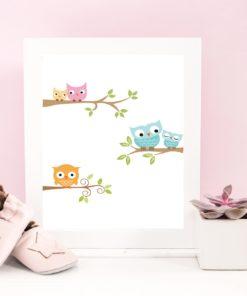 Familie - barneplakat med ugler - print ut selv