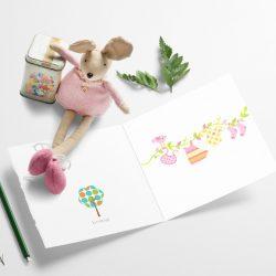 Rosa babyklær på snor - nydelig babykort til babyshower eller barndåp