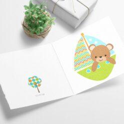 Bamse på seiltur - dobbelt barnekort med konvolutt