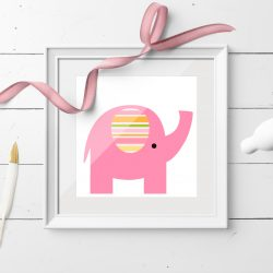 Rosa elefant - kort med konvolutt