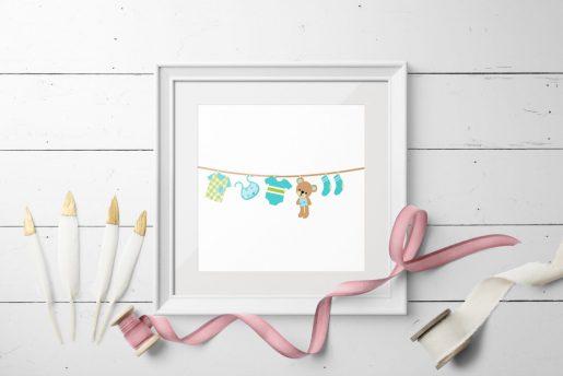 Babyklær på snor - nydelig barnekort 13x13 cm