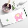Rosa elefant - fargerikt kort til barnebursdag eller babyshower