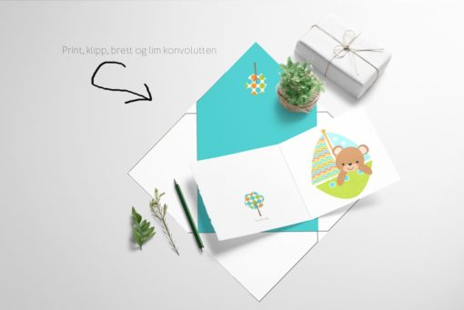 Bamse på seiltur - kort med konvolutt - print ut selv