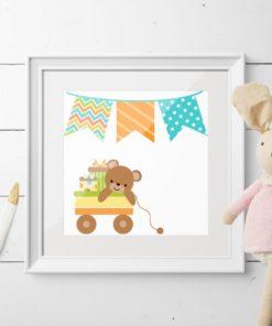 Barnekort - bamse i vogn