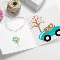 Ugle i bil - morsomt barnekort med konvolutt, ferdigtrykt eller print selv