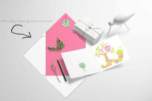 Lille larven og uglen - barnekort med konvolutt
