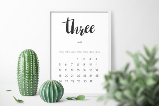 Minimalistisk kalender 2018