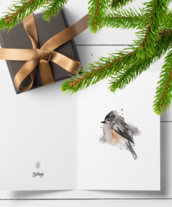 Dompapp - herlig fuglemotiv malt med vannfarger - dobbelt kort