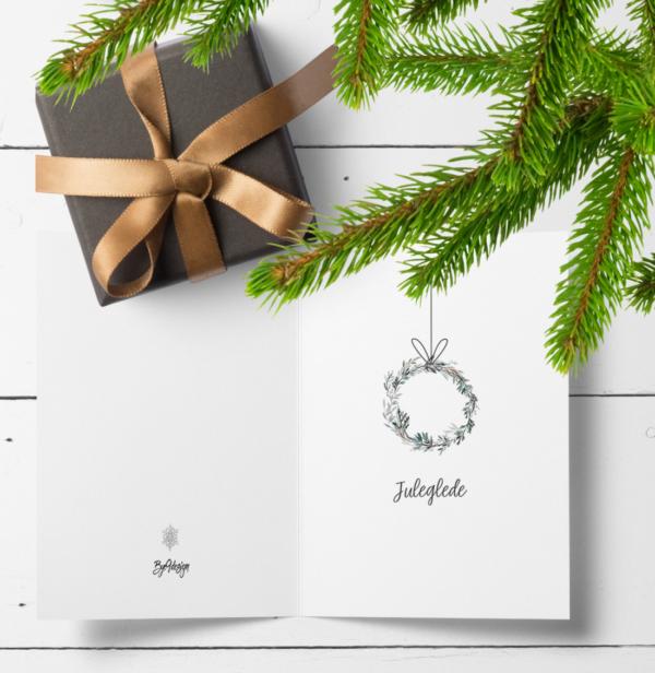 Juleglede - nostalgisk julekort med enkel, håndmalt krans
