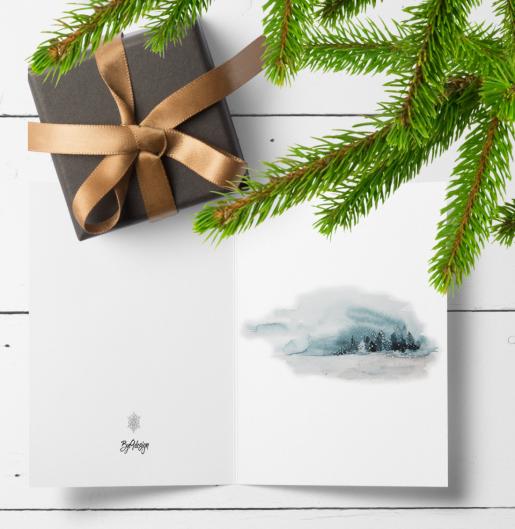 Stemning - herlig akvarellkort med ekte vinterstemning