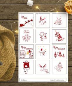 Julegavelapper i rødt, sort eller gull - barnemotiv