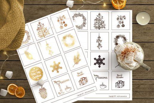 Julegavelapper i sort eller gull med nordisk julestemning