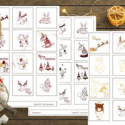 Julegavelapper i rødt, sort eller gull med barnemotiv