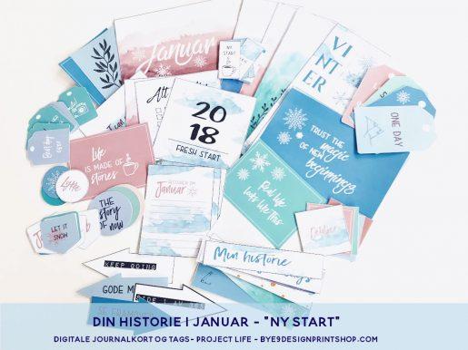 "Journalkort og tags til fotoalbum og scrapping - januar ""Ny start"""