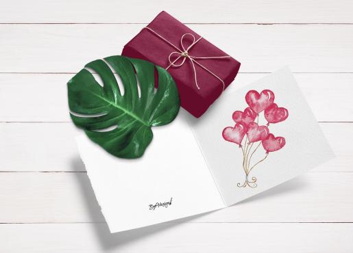 Hjerteballonger - kort til valentines
