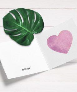 Rosa hjertekort til morsdag eller valentine
