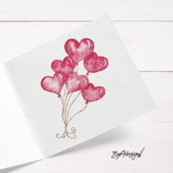 Kort med hjerteballonger til Valentines