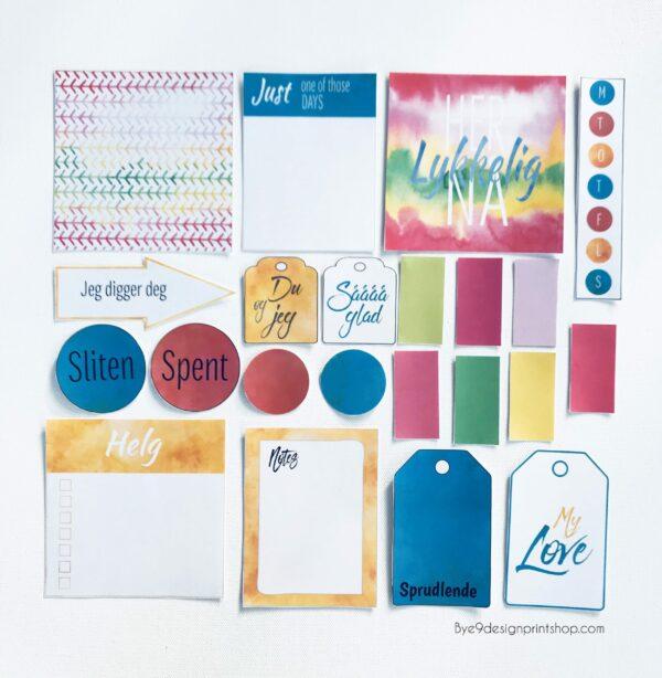"""Februar """"Dette gjør meg glad"""" - Journalkort og tags til fotoalbum og scrapping"""