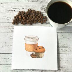 Kort med kaffe og muffinsmotiv