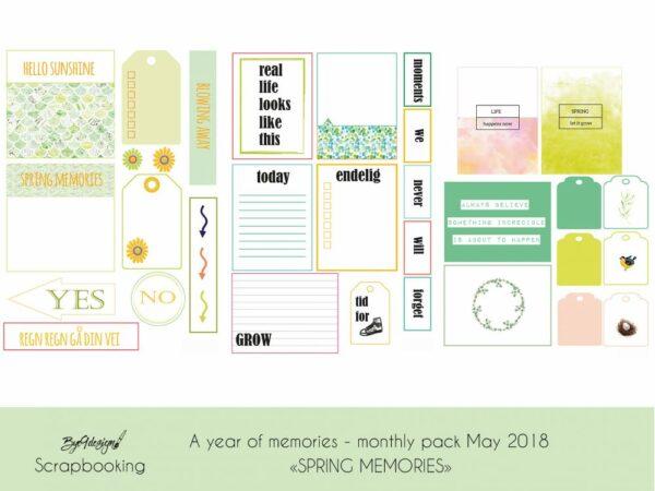 "Kreativ scrapping med månedens tema ""Spring memories"""