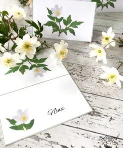 Bordkort med hvitveis til konfirmasjon, 17.mai og vårbordet