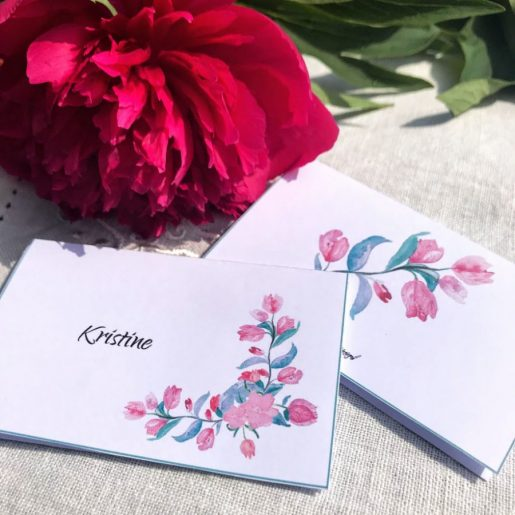 Sommerparty - bordkort med sommerblomster - print ut selv