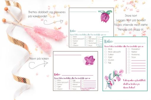 Sommerparty - merk kakene med kakekort for allergikere