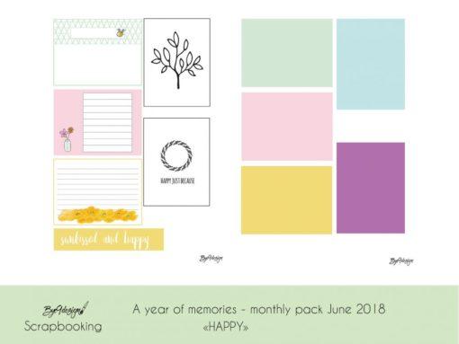"""""""Happy"""" - A year of memories - Fotoalbum, scrapping kit i juni"""