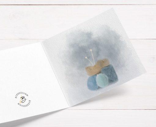 Garn i duse farger - kort til den som elsker garn og strikketøy