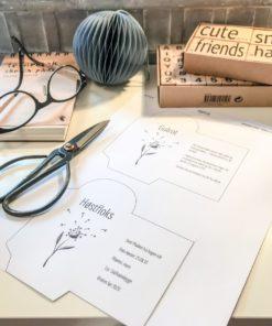 Frøposer du lager selv, print, klipp og lim.
