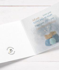 Kort med vakre garnnøster og tekst - til en som elsker strikking