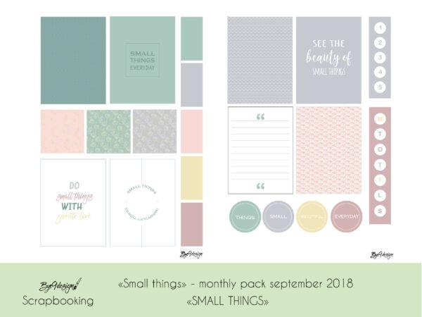 """""""Small things"""" er temaet for scrappepakken/fotopakken i september"""