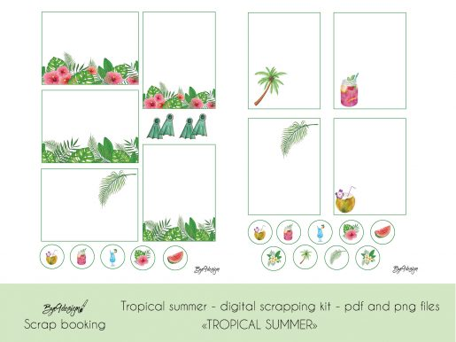Tropical Summer Journaling cards for scrapbooking