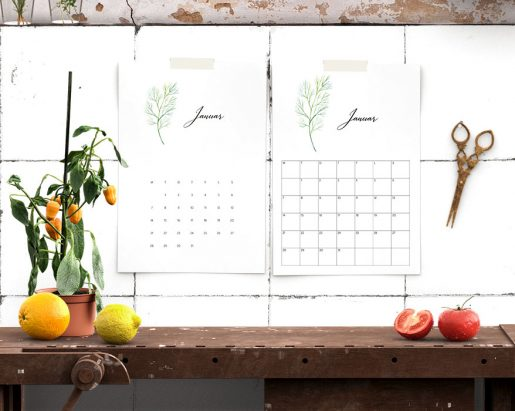 Kalender 2019 med urtemotiv og store ruter