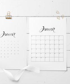 Kalender 2019 minimalistisk med store ruter og redigerbar tekst