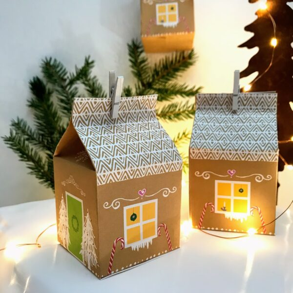 Små pepperkakehus i papir - print ut og lag en liten landsby
