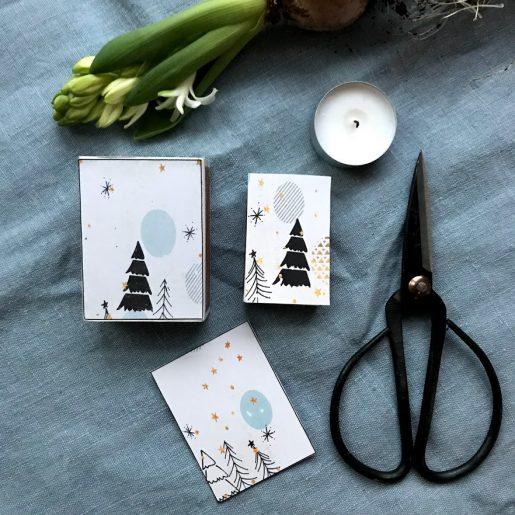 Fyrstikkeskepynt med julemotiv - lag flotte små gaver