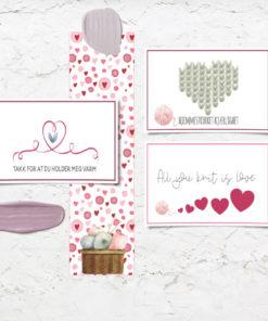 Strikkekort til valentines og morsdag